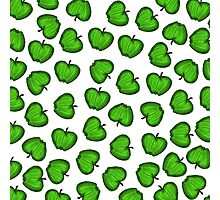 Cute Hand Drawn Green Fruity Apples Pattern Photographic Print