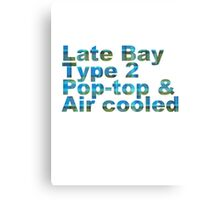 Late Bay Type 2 Pop Air Westfalia Plaid Canvas Print