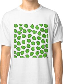 Cute Hand Drawn Green Fruity Apples Pattern Classic T-Shirt
