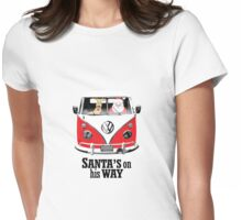 VW Camper Santa Father Christmas On Way Red Womens Fitted T-Shirt
