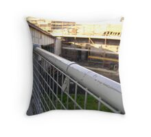 Lines Made Real (metal handrail & roofers' scaffolding) Throw Pillow