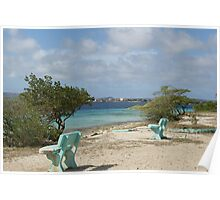 blue benches at the beach Poster