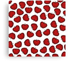 Cute Hand Drawn Red Fruity Apples Pattern Canvas Print