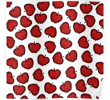Cute Hand Drawn Red Fruity Apples Pattern Poster