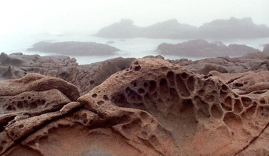 Cambria Rock in Fog by Mark Ramstead