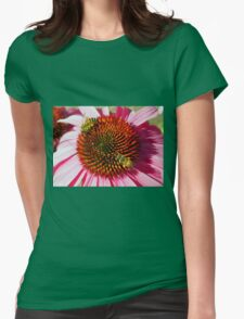 Honey Bees Macro on Echinacea Flower of Summer Womens Fitted T-Shirt