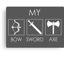 My sword, bow and axe Canvas Print