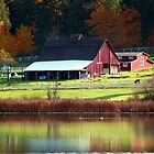 Red Barn &amp; Autumn Reflections by Tori Snow