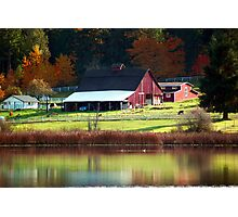 Red Barn & Autumn Reflections Photographic Print