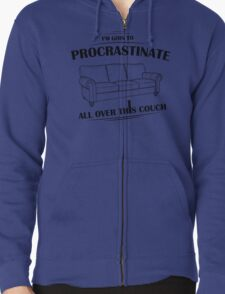 Procrastinating Couch Zipped Hoodie