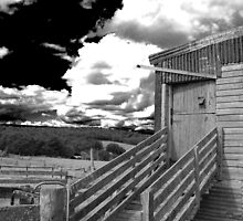 Dark Skies - Ominous clouds over a run down shearing shed. by splitsie