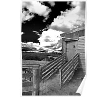 Dark Skies - Ominous clouds over a run down shearing shed. Poster