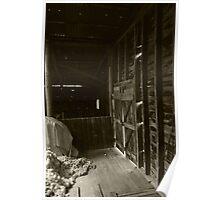 Bleeding Light - interior of a run down sheep shearing shed Poster