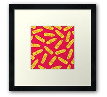 Funny Cute Hand Drawn Corn on the Cob on Neon PInk Framed Print