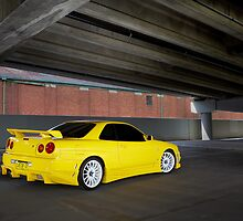 Yellow Nissan Skyline R34 by John Jovic
