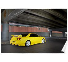Yellow Nissan Skyline R34 Poster