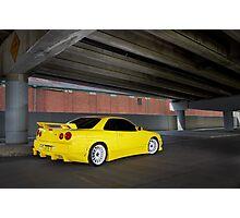 Yellow Nissan Skyline R34 Photographic Print
