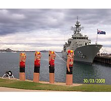 Life Saver Bollards and Aust. Navy Ship Photographic Print