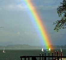 Dinghy Racing Team Under a Rainbows by Chuck Gardner