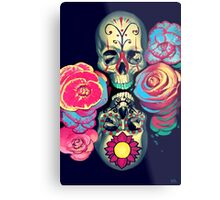 Skulls and Flowers Metal Print