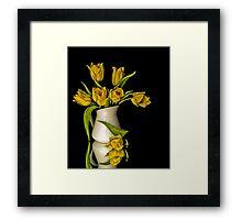 Yellow Tulips in White Vase Framed Print