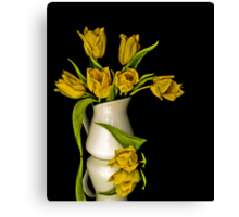 Yellow Tulips in White Vase Canvas Print