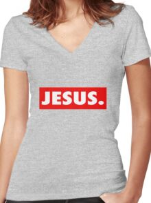 (obey) Jesus Women's Fitted V-Neck T-Shirt