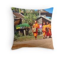 Buddhist monks with begging bowls Throw Pillow