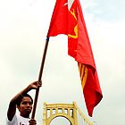 Holding the Burmese Flag Over the 6th Street Bridge - Pittsburgh G20 by carsynvolk
