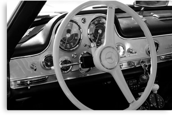 Mercedes cockpit detail, monochrome by marc melander