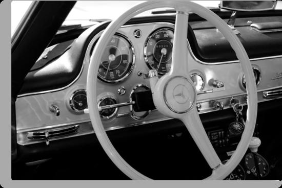 Mercedes cockpit detail, monochrome by marc melander
