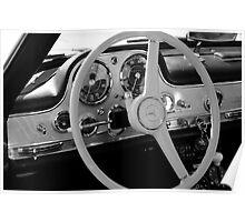 Mercedes cockpit detail, monochrome Poster