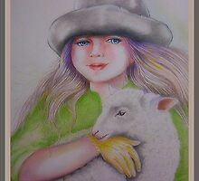 Young girl with sheep by Noel78