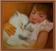 Aliyah and her cat sleeping by Noel78