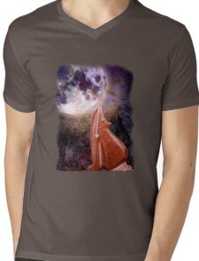 Moon Howling Coyote Mens V-Neck T-Shirt