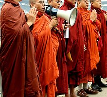 Burmese Monks Protesting on the 6th Street Bridge - Pittsburgh G20 by carsynvolk
