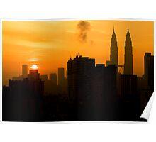 Sunrise and Twin Towers in Kuala Lumpur  Poster