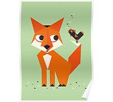 Mr. Fox & his friend rooster Poster