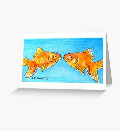 Kissing Goldfish Greeting Card