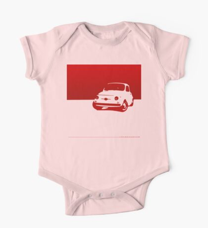 Fiat 500, 1959 - Red on white One Piece - Short Sleeve