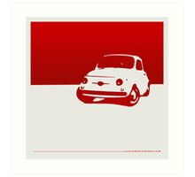 Fiat 500, 1959 - Red on white Art Print