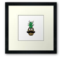 Funny Tropical Pineapple with Googly Eyes Mustache Framed Print