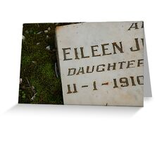 Grave Stone at Daylesford Cemetery Greeting Card