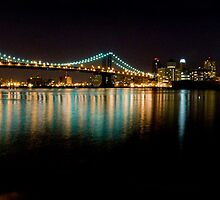 Manhattan and Brooklyn Bridges at Night by Patrick T. Power