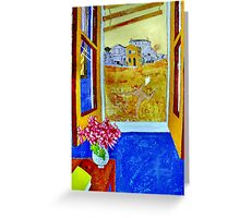 Vincent outside the Yellow House,Running Free. ( Homage to Vincent ) Greeting Card