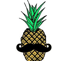 Funny Tropical Pineapple with Mustache by Blkstrawberry