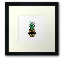 Funny Tropical Pineapple with Mustache Framed Print