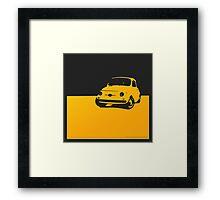 Fiat 500, 1959 - Yellow on black Framed Print