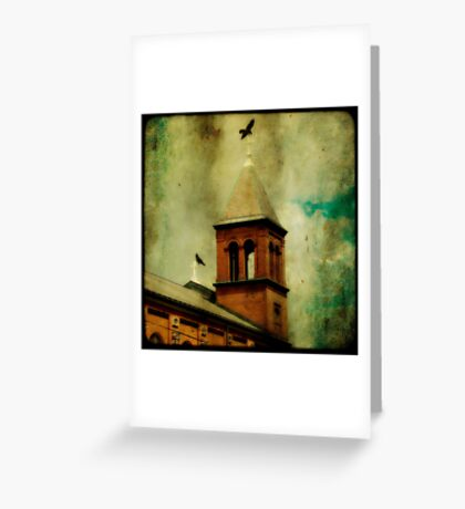 Crows And The Old Church Greeting Card