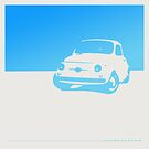 Fiat 500, 1959 - Light blue on white by uncannydrive